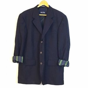 Nautical Navy 3 Button Wool Blazer